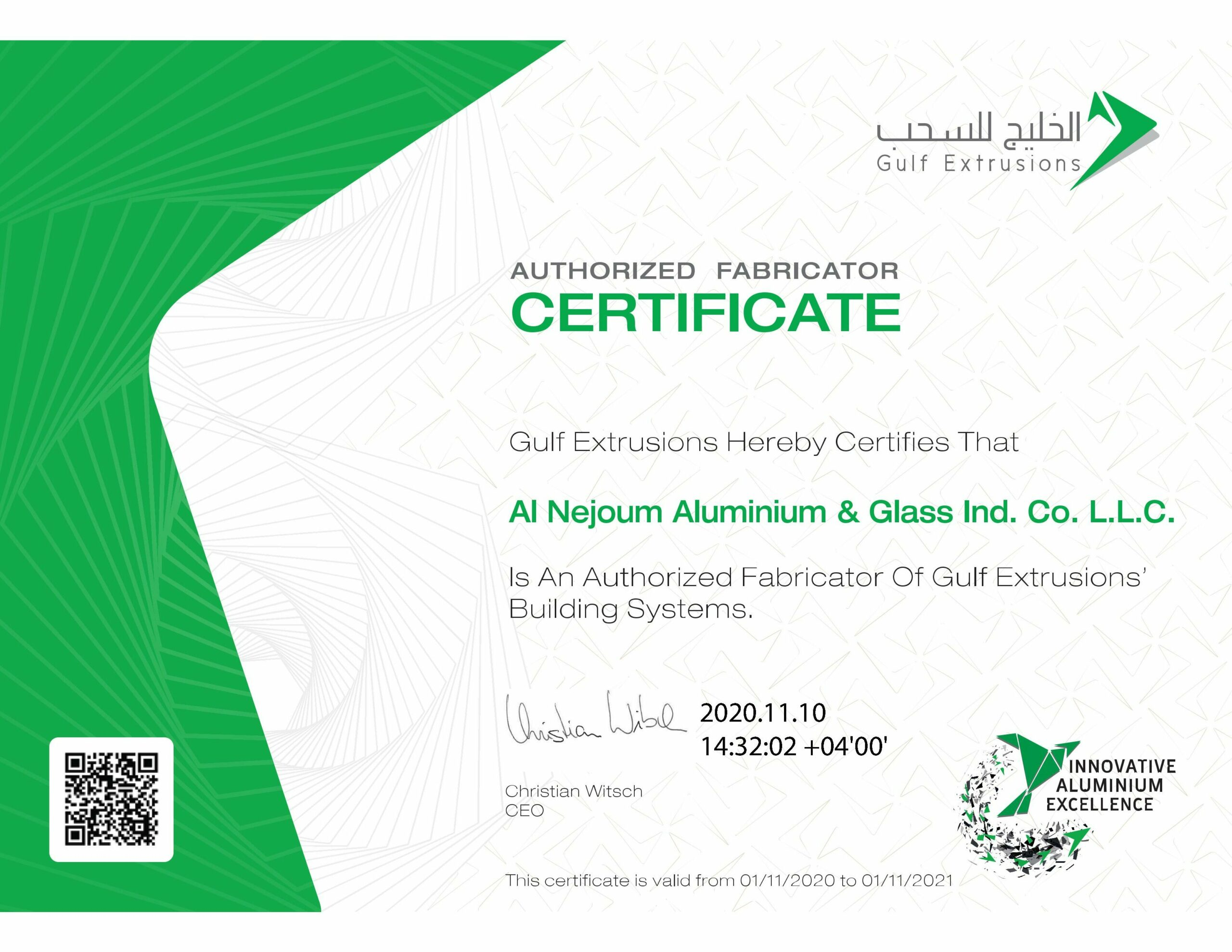 authorized fabricator certificate from gulf extrusion